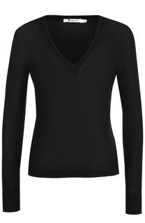 Шерстяной облегающий пуловер с V-образным вырезом T by Alexander Wang