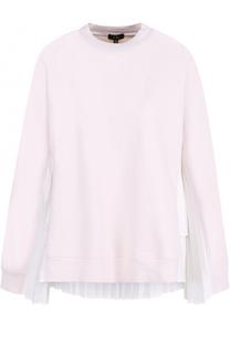 Хлопковый пуловер с плиссированными вставками Clu