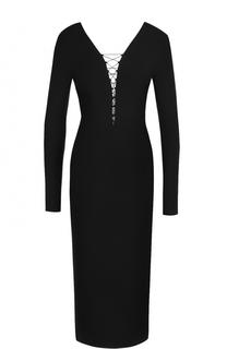 Платье-футляр с V-образным вырезом и шнуровкой T by Alexander Wang