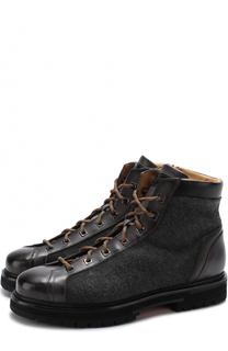 Высокие комбинированные ботинки на шнуровке Santoni