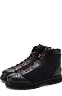 Высокие комбинированные ботинки на шнуровке с внутренней меховой отделкой Santoni