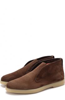 Замшевые ботинки без шнуровки с внутренней меховой отделкой Santoni