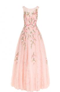 Кружевное платье-макси с цветочной вышивкой Basix Black Label