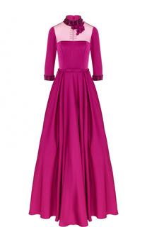 Приталенное платье-макси с воротником-стойкой Basix Black Label