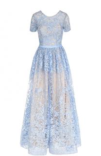 Приталенное кружевное платье с коротким рукавом Basix Black Label