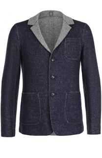 Однобортный пиджак из смеси шерсти и хлопка Capobianco