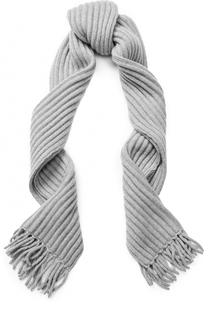 Кашемировый шарф фактурной вязки с бахромой Tegin