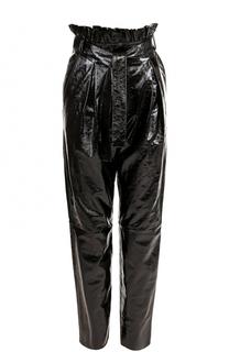 Кожаные брюки с завышенной талией и поясом DROMe