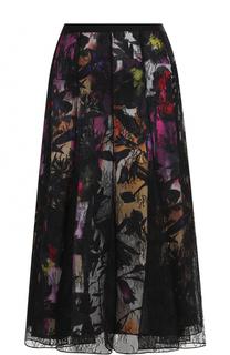 Кружевная юбка-миди с цветочной вставкой Blumarine