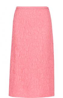 Однотонная жатая юбка-миди Marni
