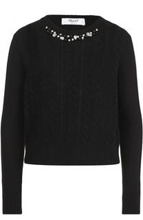 Пуловер фактурной вязки с декорированным вырезом Blugirl