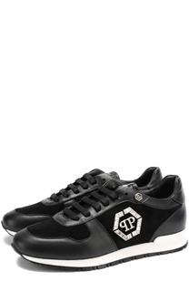 Кожаные кроссовки с замшевой отделкой Philipp Plein