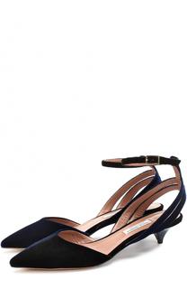 Бархатные туфли на каблуке kitten heel Tabitha Simmons