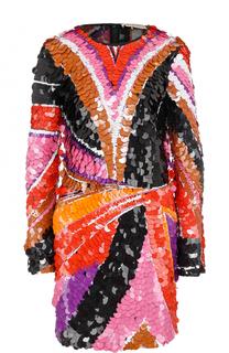 Мини-платье с длинным рукавом и пайетками Emilio Pucci