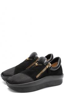Комбинированные кроссовки без шнуровки на толстой подошве Giuseppe Zanotti Design