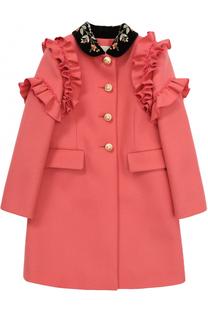 Пальто из шерсти с оборками и аппликациями Gucci