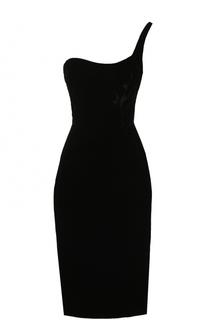 Приталенное платье-миди асимметричного кроя Oscar de la Renta
