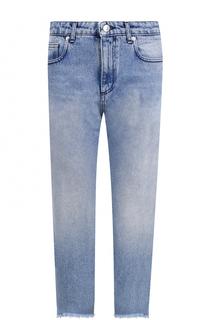 Укороченные джинсы прямого кроя с потертостями MSGM