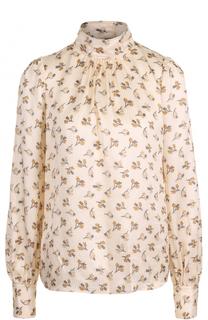 Шелковая блуза с принтом и воротником-стойкой Marc Jacobs