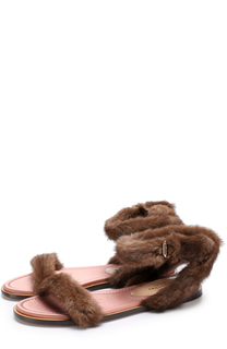 Сандалии с отделкой из меха норки Valentino