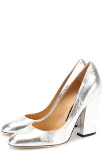 Туфли из металлизированной кожи на устойчивом каблуке Sergio Rossi