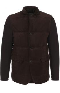 Утепленная кожаная куртка на пуговицах BOSS