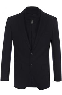 Шерстяной однобортный пиджак с подстежкой BOSS