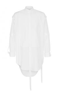 Удлиненная хлопковая рубашка асимметричного кроя Alexander McQueen