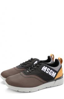 Текстильные кроссовки на шнуровке с замшевой отделкой MSGM