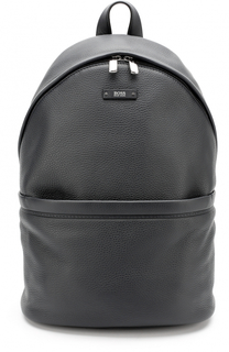 Кожаный рюкзак с внешним карманом на молнии BOSS