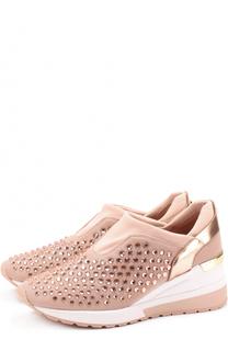 Текстильные кроссовки Maloy с кристаллами без шнуровки MICHAEL Michael Kors