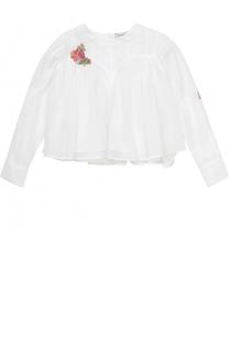 Укороченная блуза из хлопка свободного кроя с вышивкой бисером Natasha Zinko