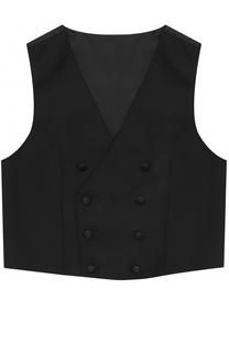 Двубортный жилет из смеси шерсти и вискозы Dolce & Gabbana