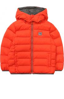 Пуховая куртка с капюшоном и логотипом бренда Armani Junior