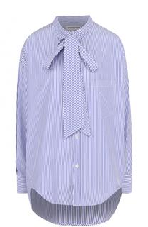 Хлопковая блуза в полоску с воротником аскот Balenciaga