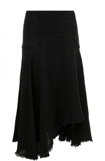Буклированная юбка-миди асимметричного кроя Alexander McQueen