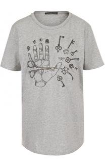 Хлопковая футболка с вышивкой и круглым вырезом Alexander McQueen