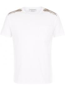 Хлопковая футболка с вышивкой Alexander McQueen