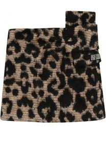 Мини-юбка с леопардовым принтом и бантом No. 21