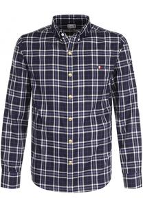 Хлопковая рубашка в клетку с воротником button-down Moncler