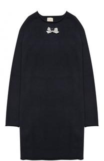 Вязаное мини-платье прямого кроя с бантом и декором Kuxo Cashmere