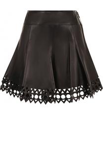 Кожаная мини-юбка с перфорацией Alaia
