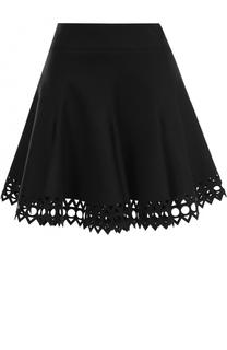 Шерстяная мини-юбка с перфорацией Alaia