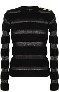 Пуловер с прозрачными вставками и круглым вырезом Balmain