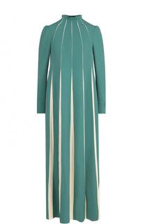 Платье-макси с длинным рукавом и воротником-стойкой Valentino