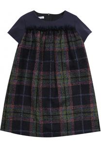 Мини-платье из шерсти с принтом и оборкой I Pinco Pallino