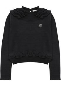 Пуловер джерси с оборками и логотипом бренда из страз I Pinco Pallino