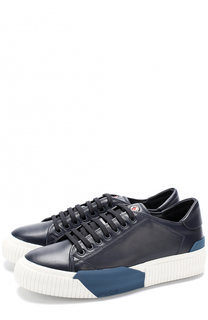 Кожаные кеды на шнуровке Moncler