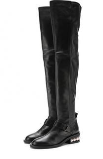 Кожаные ботфорты на декорированном каблуке Nicholas Kirkwood
