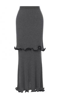 Шерстяная многоярусная юбка-макси Stella McCartney